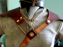 Chest harness for pauldrons over fitted nubuck doublet